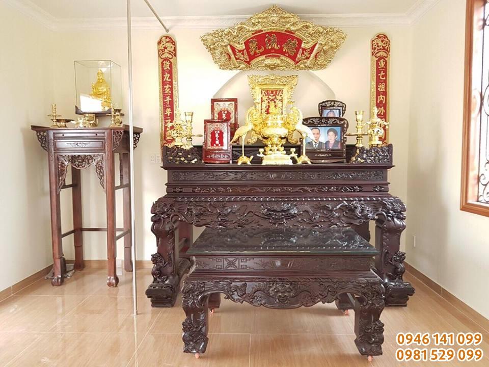 Không gian thờ hiện đại và sang trọng với đồ thờ đồng khảm vàng tại Đồ Đồng Việt Hải Phòng