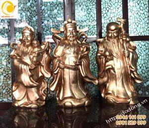 Bộ tượng tam đa, phúc lộc thọ bằng đồng đỏ 60cm
