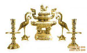 Lư đồng vĩnh tiến đồng vàng thờ gia tiên