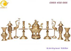 Báo giá bộ đỉnh thờ đồng vàng đúc liền hàng đại bái