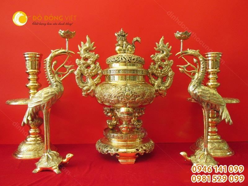 Bộ đồ thờ đồng vàng hãng Vĩnh tiến cao 55cm ngũ sự màu sáng bóng