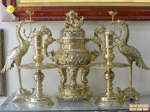 Bộ đỉnh đồng ngũ sự bằng đồng vàng cao 60cm