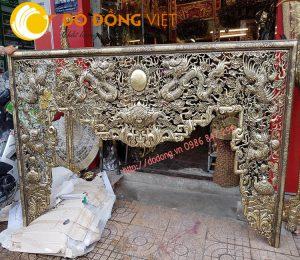 Bộ cửa võng tứ linh, song long trầu nguyệt đồng vàng 2,56m