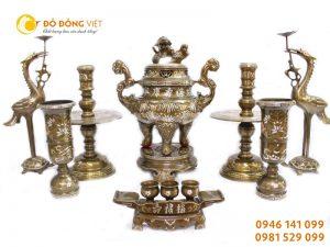 Bộ đồ thờ hưng vượng (tam khí) – DTHV 50 – Đồ đồng Việt Hải Phòng