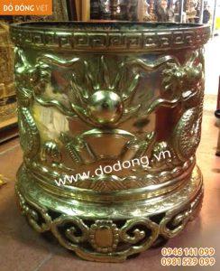 Bát hương đồng vàng dk 40cm rồng nổi – Bát hương đồng