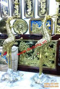 Đôi hạc đồng vàng đúc liền khối 168cm – Hạc đồng
