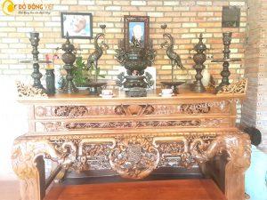 Cách bày một bộ lư đồng hun, đỉnh thờ đồng đen trên bàn thờ