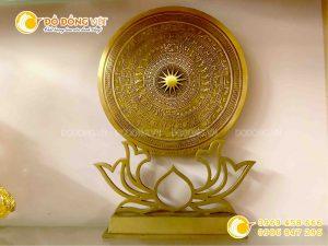 Mặt đĩa trống đồng đúc làm quà tặng đế hoa sen