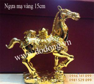 Tượng phong thủy ngựa cõng thỏi vàng mạ vàng Ngựa đồng