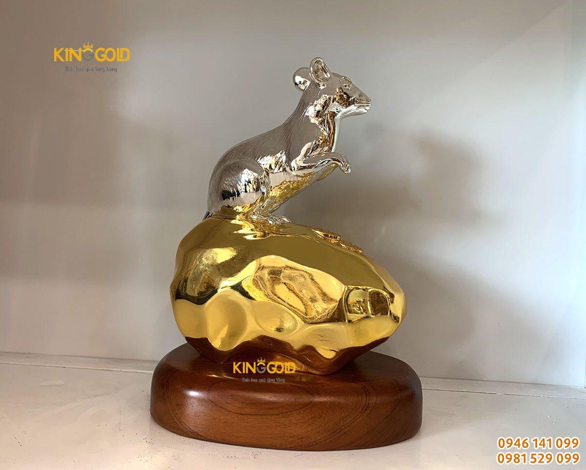 Tượng Chuột Bằng Đồng Dát Bạc Vàng Cao 18 Cm