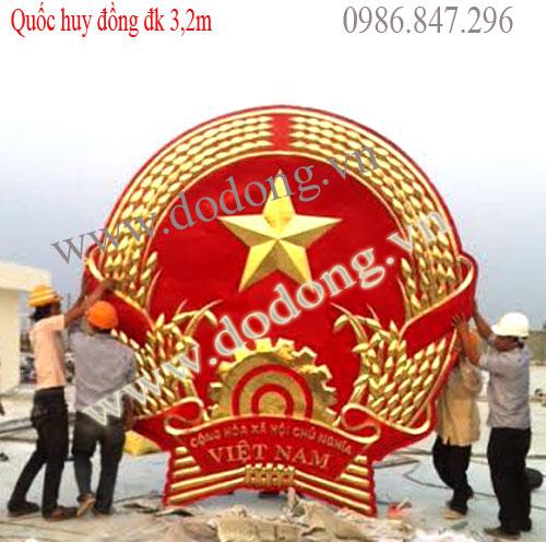 Quốc huy Việt nam bằng đồng dk 3,5m đồng vàng tấm 1,2ly