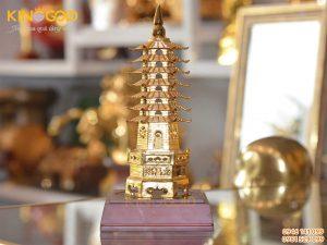 Tháp văn xương 9 tầng mạ vàng- vật phẩm phong thủy trên bàn học