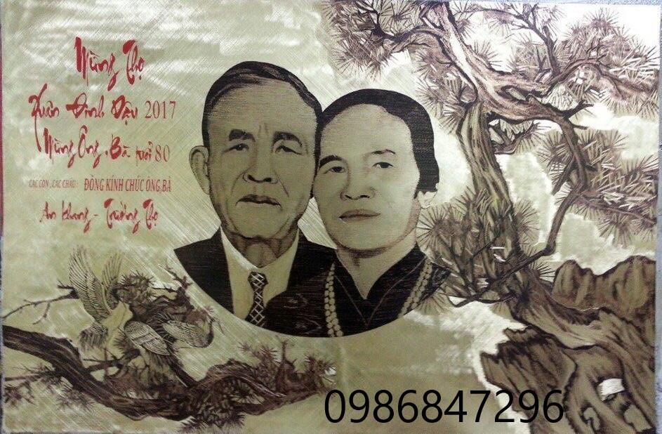 Bức tranh chân dung 2 ông bà làm quà mừng thọ, treo trong gia đình làm kỷ niệm