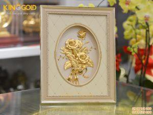 Tranh bông hoa hồng dát vàng- quà tặng vợ, quà tặng bạn gái