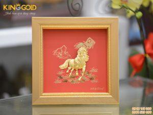 Tranh ngựa vàng 24k mã đáo thành công- quà tặng tân gia ý nghĩa