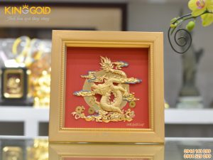 Tranh rồng mạ vàng đẹp tinh xảo- quà tặng tranh vàng cao cấp