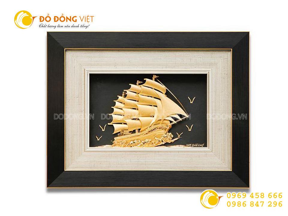 tranh thuyền buồm dát vàng 24k