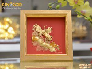 Bức tranh tùng hạc diên niên- quà tặng tranh vàng 24k đẹp tinh xảo