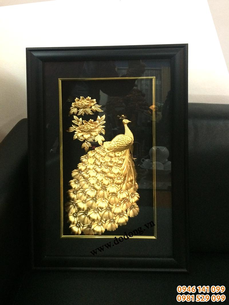 Tranh phượng hoàng vàng lá 3d trang trí nội thất