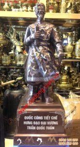 Tượng đồng Trần quốc tuấn khảm ngũ sắc 70cm