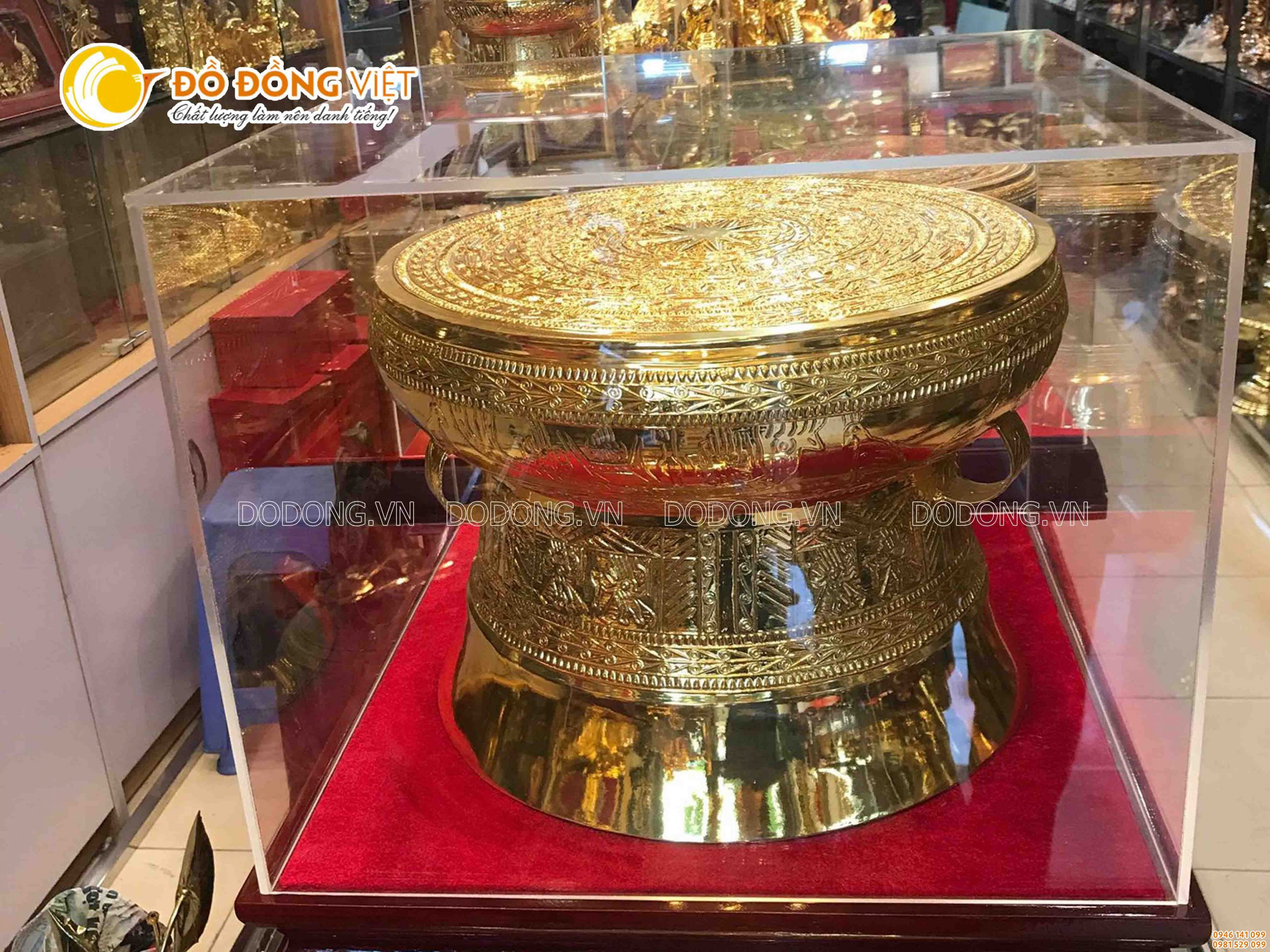 Trống đồng mạ vàng DK 45 cm