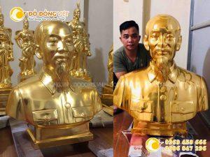 Tượng bác Hồ bằng đồng mạ vàng 9999