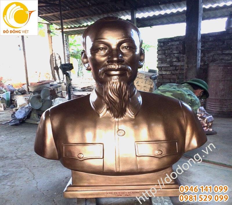 tượng bán thân bác hồ 110cm đồng đỏ