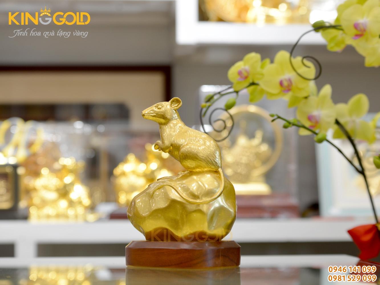 Quà tặng tượng chuột phong thủy mạ vàng
