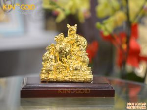 Tượng đàn chuột ôm bao tiền vàng, tượng phong thủy mạ vàng