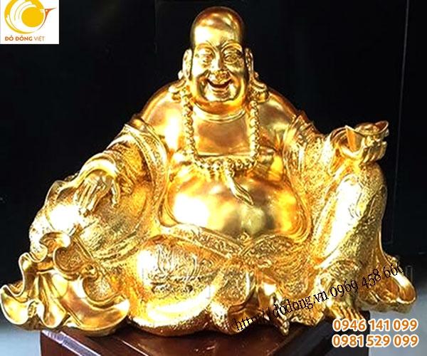 Tượng phật di lạc đồng đúc 45cm dát vàng sang trọng và nâng gia trị tâm linh cho việc trưng bày phong thủy,thờ cúng