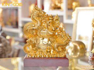 Tượng rồng ôm vàng bạc châu báu, tượng rồng vàng phong thủy