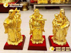 Bộ tượng tam đa, Tam Tiên Phúc Lộc Thọ bằng đồng mạ vàng 9999