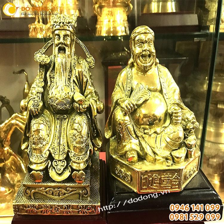 Tượng thần tài ông địa đồng vàng cao 20,30cm