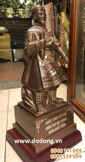 Tượng đồng Trần hưng đạo khảm ngũ sắc cao cấp 50cm trang trí phong thủy