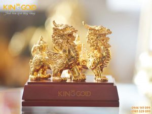 Tượng đồng tỳ hưu phong thủy mạ vàng 9999