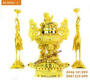 Đồ thờ cúng đồng mạ vàng 24k Đồ thờ mạ vàng