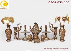 Bộ đồ thờ cúng trang trí bàn thờ chạm khảm tam khí