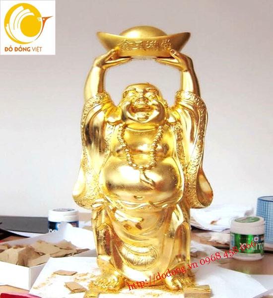 Tượng đồng di lạc mạ vàng 24k cao 60cm đúc đồng nguyên khối bày phòng khách gia đình đẹp
