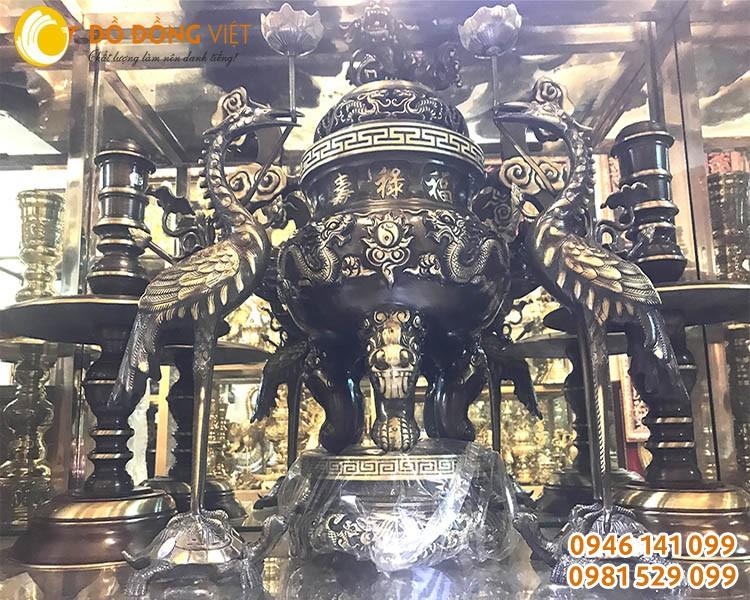 Bộ đỉnh đồng song long đúc liền khối cao 55cm dùng trang trí bàn thờ