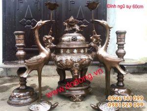 Bộ đồ thờ cúng bằng đồng tam khí 60cm
