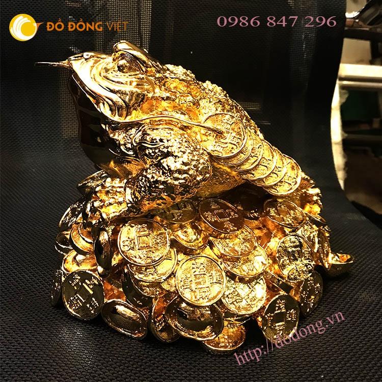Tượng cóc đồng mạ vàng 20cm đúc nguyên khối, cóc phong thủy tài lộc