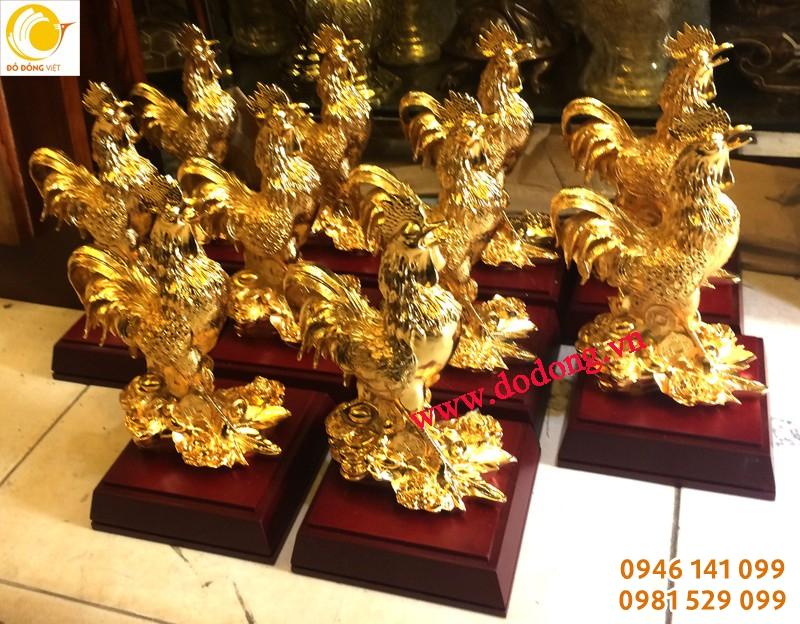 Tượng gà đồng mạ vàng để bàn làm việc 23cm