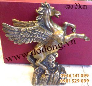 Tuấn mã có cánh (ngựa thần) cao 20,25cm đồng giả cổ- ngựa cánh