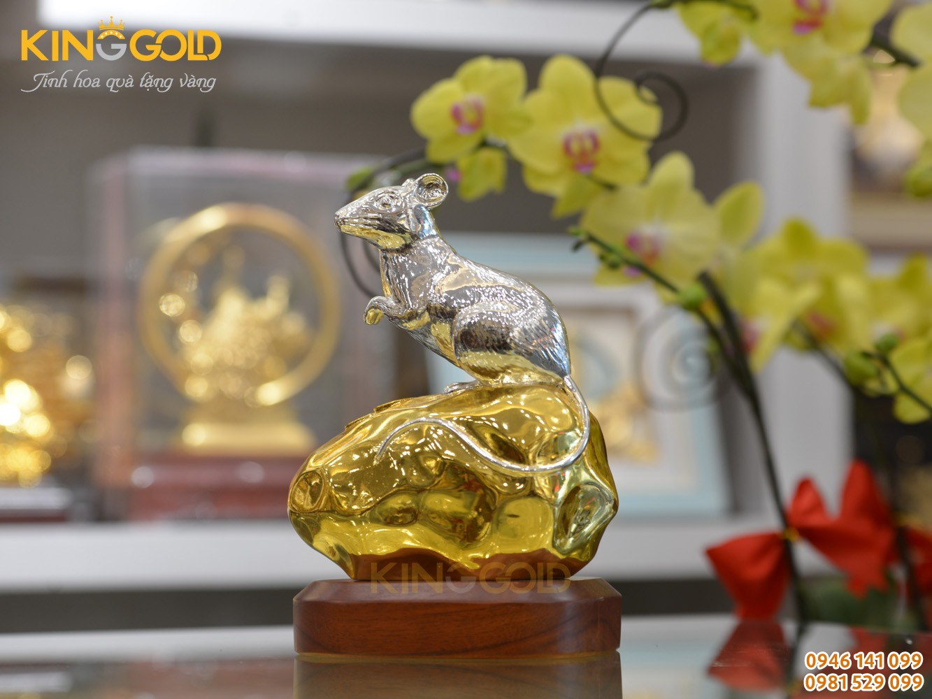 Tượng Chuột Bằng Đồng Dát Bạc Dát Vàng Cao Cấp
