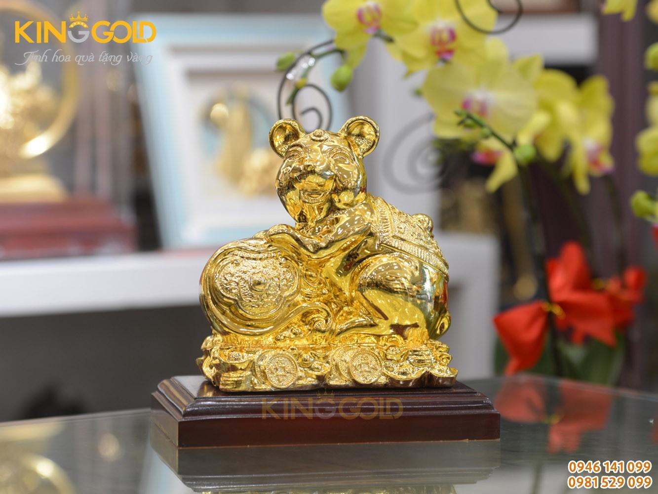 Quà tặng phong thủy- tượng chuột mạ vàng bên gậy như ý