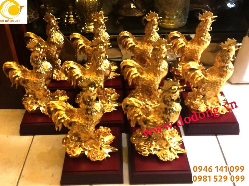 Tượng gà đồng mạ vàng phong thủy